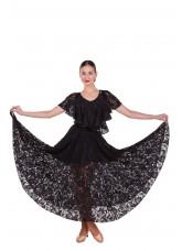 Юбка женская для стандарта ЮС435-11 Dance Me,  Масло+гипюр+бархат, Черный