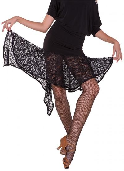 Юбка женская Латина ЮЛ21-11-14 Dance.me, масло+гипюр, черный