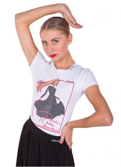 Футболка женская ФКР464, Dance Me, хлопок, белый