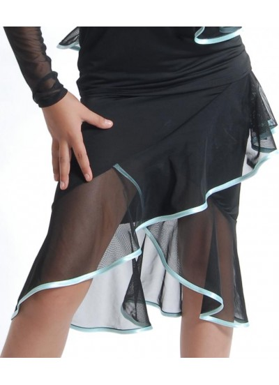 Dance Me Юбка для латины ЮЛ14 женская, масло / сетка, черный, голубой