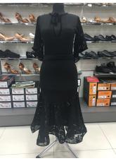Платье женское Латина ПЛ454-11 Dance.me, Украина, Масло+гипюр+бархат, Черный