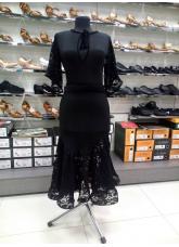 Платье женское Латина ПЛ454-11-16 Dance.me, Украина, Масло+гипюр+бархат, Черный