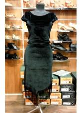 Платье женское Латина ПЛ260-13 Dance.me, Украина, Бархат+бахрома, Черный