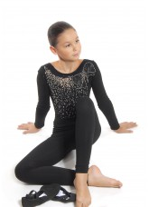 Лосины детские удлиненные ЛУ61 Dance Me, вискоза, черный