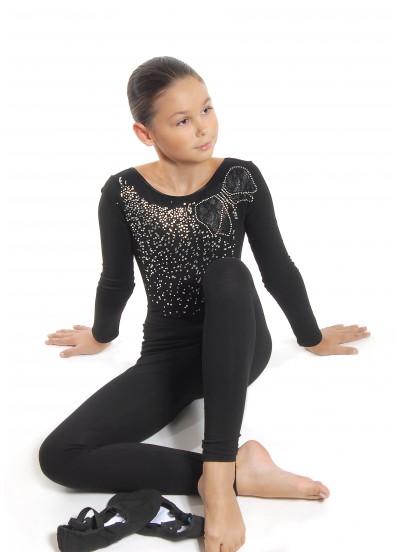 Dance Me Лосины детские удлиненные ЛУ61, хлопок, черный