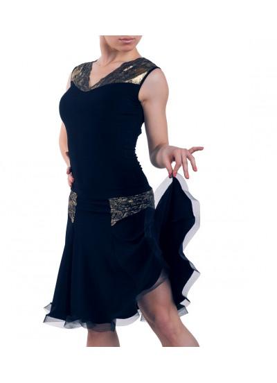 Dance Me Юбка для латины ЮЛ166-4 женская, масло / кружево, черный, золото