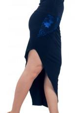 Dance Me Юбка для латины ЮЛ172-4 женская, масло / сетка / кружево, черный, голубой