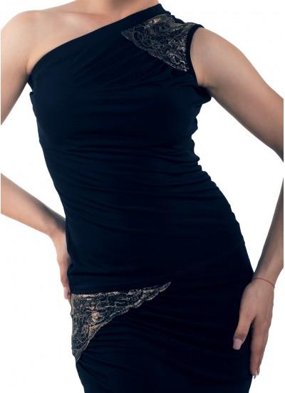 Dance Me Блуза женская БЛ174-4, масло / кружево, черный, золото