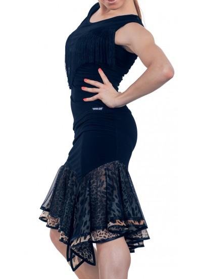 Dance Me Юбка для латины ЮЛ146-2 женская, масло / сетка, черный, лео
