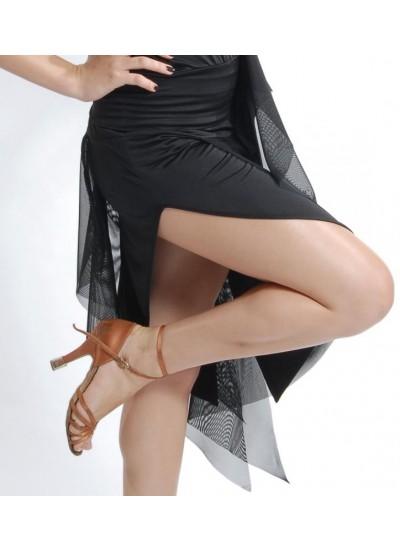 Dance Me Юбка для латины ЮЛ6 женская, кристал / сетка, черный