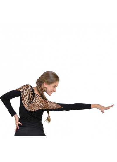 Dance Me Блуза женская БЛ152-2, масло / сетка, лео