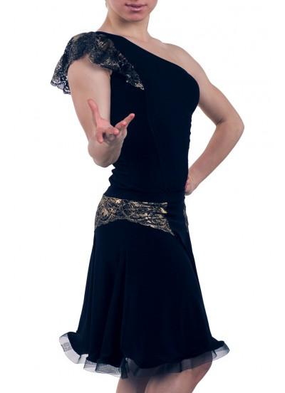 Dance Me Блуза женская БЛ162-4, масло / кружево, черный, золото