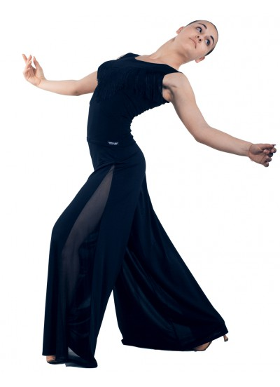 Dance Me Блуза женская БЛ221, масло / бахрома, черный