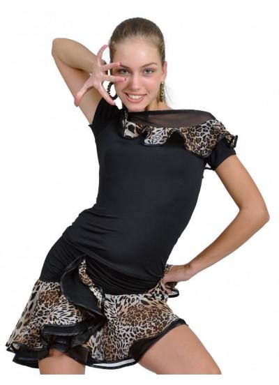 Dance Me Блуза БЛ96Кр-2 женская, масло / сетка, черный / лео