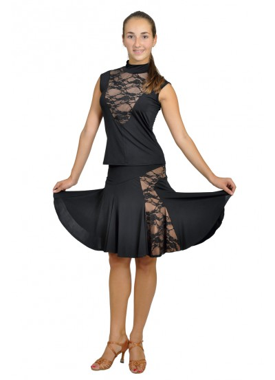 Dance Me Блуза женская БЛ104-1, масло / гипюр, черный, загар