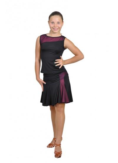 Dance Me Юбка для латины ЮЛ131-3Кри женская, масло / сетка, розовый