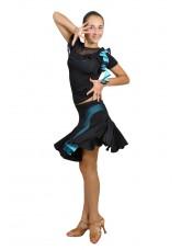 Dance Me Юбка для латины ЮЛ131-3 женская, масло / сетка, голубой
