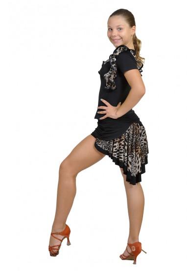 Dance Me Юбка для латины ЮЛ49 женская, масло / сетка, лео