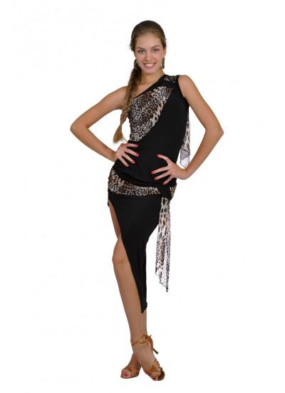 Dance Me Юбка для латины ЮЛ9-2 женская, масло / сетка, лео