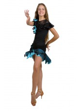 Dance Me Юбка для латины ЮЛ93-3 женская, масло / сетка, голубой
