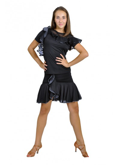 Dance Me Юбка для латины ЮЛ93-3 женская, масло / сетка, серый