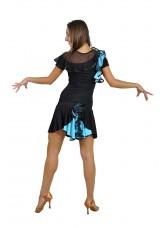 Dance Me Юбка для латины ЮЛ94-3 женская, масло / сетка, голубой