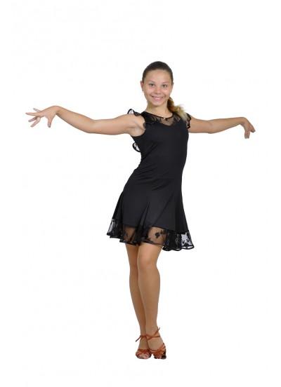 Dance Me Платье детское ПЛ120-1, масло / гипюр, черный
