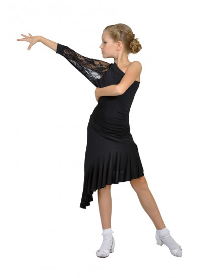 Dance Me Платье детское ПЛ13, масло / гипюр, черный