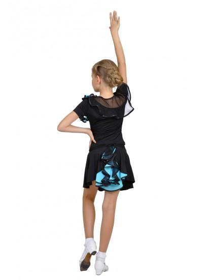 Dance Me Юбка для латины ЮЛ94-3 детская, масло / сетка, голубой