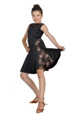 Dance Me Платье детское ПЛ123, масло / гипюр, черный, загар