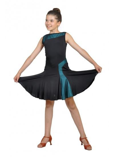 Dance Me Платье детское ПЛ123-3, масло / сетка, черный, голубой