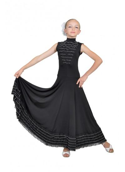 Dance Me Платье детское ПС99, масло / рюша белая, черный