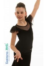 Dance Me Блуза для девочки БЛ336, масло / сетка, черный
