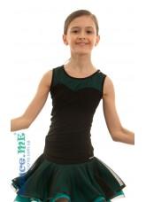 Dance Me Блуза детская БЛ335-5, масло / сетка, черный / бирюзовый