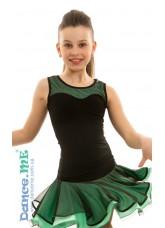 Dance Me Блуза детская БЛ335-5, масло / сетка, черный / мята