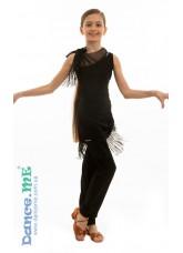 Dance Me Брюки латина детские БРЛ322, масло / бахрома, черный