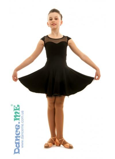 Детское платье для латины Dance Me PL334#, масло / сетка, цвет черный