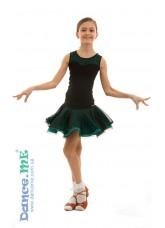 Dance Me Юбка для латины ЮЛ363 детская, масло / сетка, черный / бирюзовый