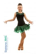 Dance Me Юбка для латины ЮЛ363 детская, масло / сетка, черный / мята