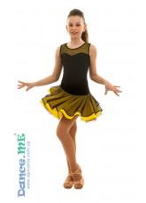 Dance Me Юбка для латины ЮЛ363 детская, масло / сетка, черный / желтый