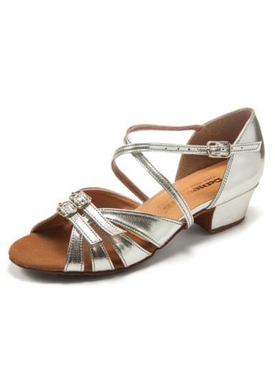Танцевальные туфли для девочки Dance Me БК 30310, серебро, кожа искусственная