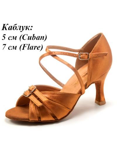 Женские туфли для латины Dance Me 4210, загар сатин