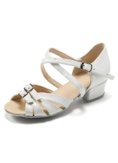 Танцевальная обувь для девочки блок-каблук Аленка, белый лак