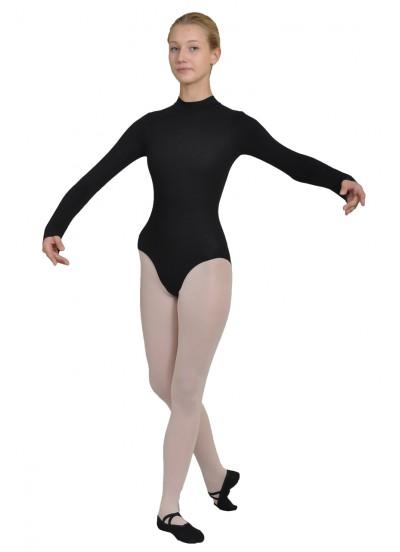 Dance Me Купальник длинный рукав, воротник стойка 113, женский, хлопок, черный