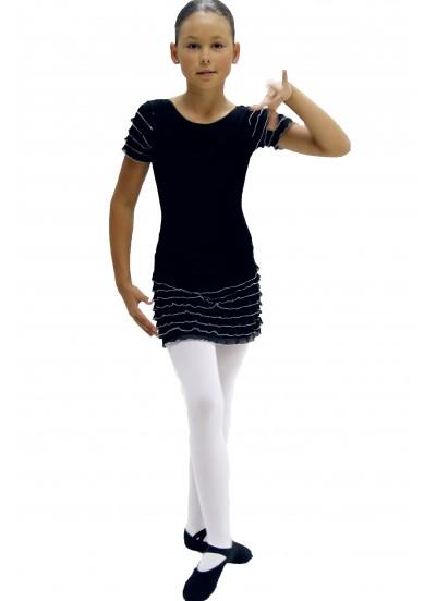 """Dance Me Купальник детский """"Волна белая"""", рукав короткий, хлопок, черный"""