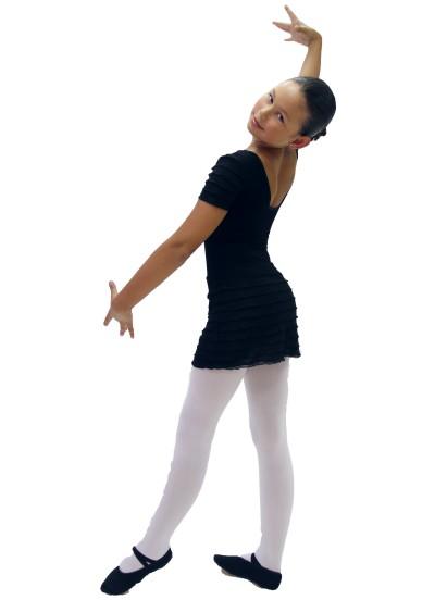 """Dance Me Купальник детский """"Волна черная"""", рукав короткий, хлопок, черный"""