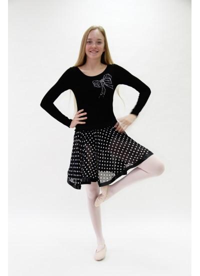 """Dance Me Юбка женская """"Рюшана верх"""" ЮХ63, черный в белый горох"""