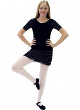 """Dance Me Купальник женский """"Волна белая"""", рукав короткий, вискоза, черный"""