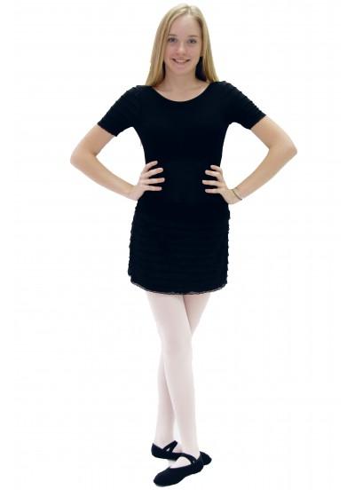 """Dance Me Купальник женский """"Волна черная"""", рукав короткий, вискоза, черный"""