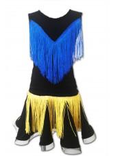 Dance Me Блуза детская БЛ221-Цв, масло / синяя бахрома, черный